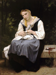 Photo of a Woman Sewing While Sitting on a Bench, Young Worker by William-Adolphe Bouguereau