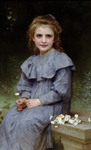 Photo of a Little Girl Picking Daisy Flowers by William-Adolphe Bouguereau