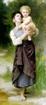 Photo of a Girl Holding Her Brother, Brother and Sister by William-Adolphe Bouguereau