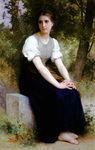 Photo of a Young Woman Sitting on a Stone Slab, The Song of the Nightingale by William-Adolphe Bouguereau