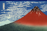 Photo of Mount Fuji in Clear Weather, Red Fuji, by Katsushika Hokusai