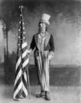 Photo of Uncle Sam Standing Beside the American Flag, 1898