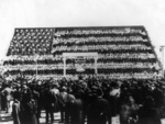 Photo of School Students in Bleachers, Forming the American Flag in 1910