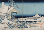 Photo of a Man and Women on a Balcony, Viewing Mount Fuji in a Snowy Landscape, Japan