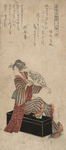 Photo of a Geisha Woman Sitting on a Trunk and Holding a Fan
