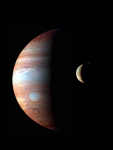 Stock Photography of Jupiter and Io, its Volcanic Moon