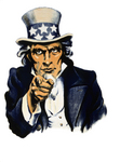 Stock Photography of a Vintage Navy War Recruiting Poster of a Blue Uncle Sam in Pointing Outwards, Isolated on White