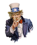 Stock Photography of Uncle Sam Pointing Outwards, I Want You, Isolated on White