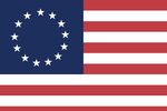 Clip Art Graphic of the 13 White Stars Circling Over Blue In The Corner Of The Red And White Striped Betsy Ross American Flag