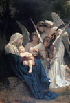 Stock Illustration Of Mary Sleeping With Baby Jesus In Her Arms, Three Beautiful Angels Admiring The Child And Playing A Violin And Mandolin, Titled Song Of The Angels By William-Adolphe Bouguereau