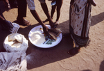 Dry Food Distribution to an African Family at a Relief Camp During the Biafran War in Nigeria