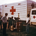Red Cross Truck Fueling Up Before Distributing Food to the Refugee Relief Camps During the Nigerian-Biafran War