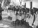 Group of Local Children Waiting to Receive a Smallpox Inoculation - 1968