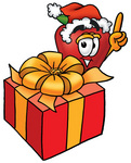 Clip art Graphic of a Red Apple Cartoon Character Standing by a Christmas Present