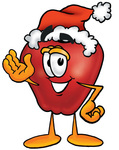 Clip art Graphic of a Red Apple Cartoon Character Wearing a Santa Hat and Waving