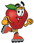 Clip art Graphic of a Red Apple Cartoon Character Roller Blading on Inline Skates