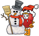 Clip art Graphic of a Red Apple Cartoon Character With a Snowman on Christmas