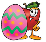 Clip art Graphic of a Red Apple Cartoon Character Standing Beside an Easter Egg