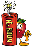 Clip art Graphic of a Red Apple Cartoon Character Standing With a Lit Stick of Dynamite