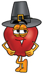 Clip art Graphic of a Red Apple Cartoon Character Wearing a Pilgrim Hat on Thanksgiving