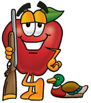 Clip art Graphic of a Red Apple Cartoon Character Duck Hunting, Standing With a Rifle and Duck