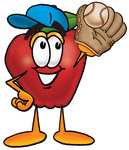Clip art Graphic of a Red Apple Cartoon Character Catching a Baseball With a Glove