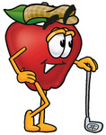Clip art Graphic of a Red Apple Cartoon Character Leaning on a Golf Club While Golfing