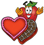 Clip art Graphic of a Red Apple Cartoon Character With an Open Box of Valentines Day Chocolate Candies