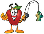 Clip art Graphic of a Red Apple Cartoon Character Holding a Fish on a Fishing Pole