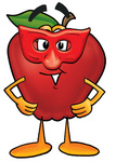 Clip art Graphic of a Red Apple Cartoon Character Wearing a Red Mask Over His Face