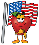 Clip art Graphic of a Red Apple Cartoon Character Pledging Allegiance to an American Flag
