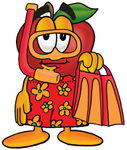 Clip art Graphic of a Red Apple Cartoon Character in Orange and Red Snorkel Gear