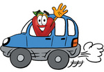 Clip art Graphic of a Red Apple Cartoon Character Driving a Blue Car and Waving