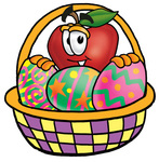 Clip art Graphic of a Red Apple Cartoon Character in an Easter Basket Full of Decorated Easter Eggs