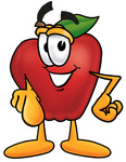 Clip art Graphic of a Red Apple Cartoon Character Pointing at the Viewer