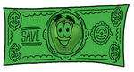 Clip art Graphic of a Red Apple Cartoon Character on a Dollar Bill