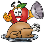 Clip art Graphic of a Red Apple Cartoon Character Serving a Thanksgiving Turkey on a Platter