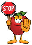 Clip art Graphic of a Red Apple Cartoon Character Holding a Stop Sign