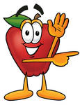 Clip art Graphic of a Red Apple Cartoon Character Waving and Pointing