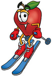 Clip art Graphic of a Red Apple Cartoon Character Skiing Downhill