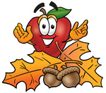 Clip art Graphic of a Red Apple Cartoon Character With Autumn Leaves and Acorns in the Fall