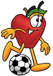 Clip art Graphic of a Red Apple Cartoon Character Kicking a Soccer Ball