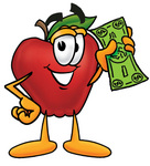 Clip art Graphic of a Red Apple Cartoon Character Holding a Dollar Bill