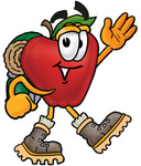 Clip art Graphic of a Red Apple Cartoon Character Hiking and Carrying a Backpack