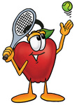Clip art Graphic of a Red Apple Cartoon Character Preparing to Hit a Tennis Ball