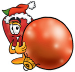 Clip art Graphic of a Red Apple Cartoon Character Wearing a Santa Hat, Standing With a Christmas Bauble