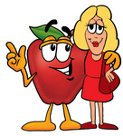 Clip art Graphic of a Red Apple Cartoon Character Talking to a Pretty Blond Woman