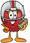 Clip art Graphic of a Red Apple Cartoon Character in a Helmet, Holding a Football