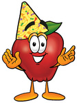 Clip art Graphic of a Red Apple Cartoon Character Wearing a Birthday Party Hat