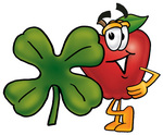 Clip art Graphic of a Red Apple Cartoon Character With a Green Four Leaf Clover on St Paddy's or St Patricks Day